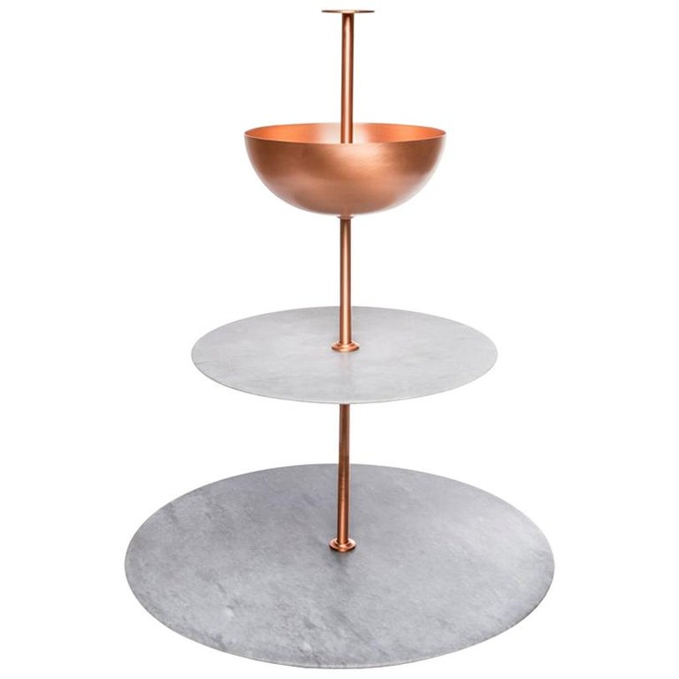 Lunar Cycle Multi-Layered Stand  in gray marble and copper by Elisa Ossino For Sale