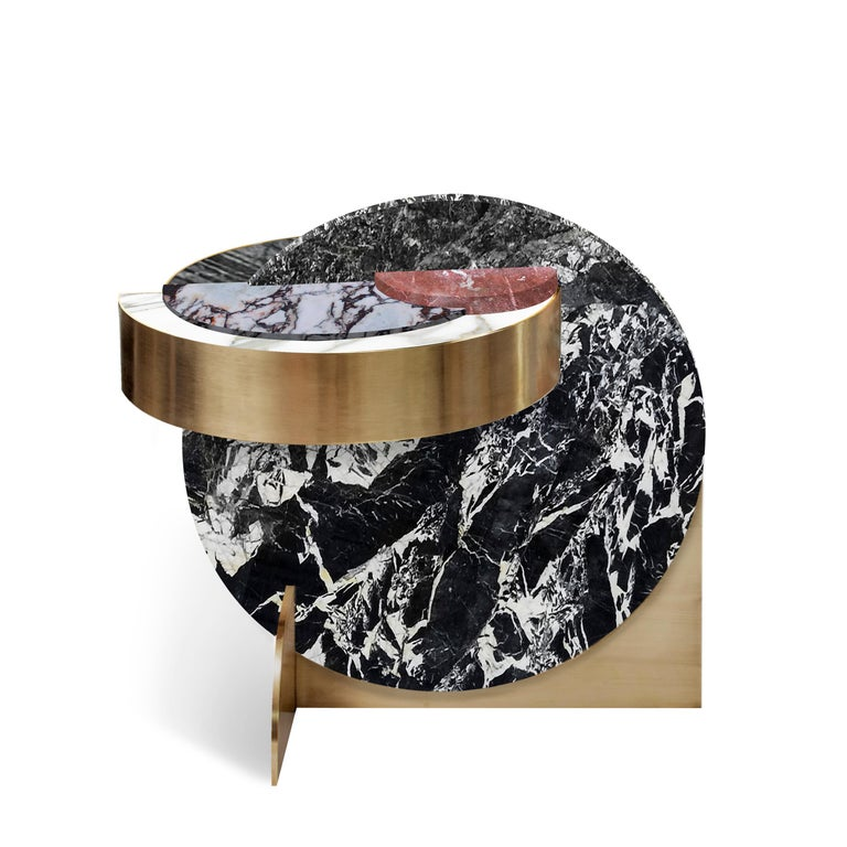 Lunar collection of table furniture takes the sheer glamour of stone into yet another galaxy. Following the design language of Solaris, they take inspiration from the planets and their orbital movements, featuring highly-figured, richly-coloured