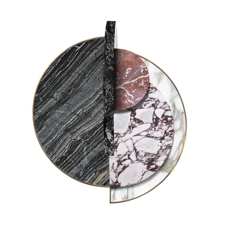 Modern Lunar Full Moon Marble and Brass Side Table, Alpine, Bohinc Studio For Sale