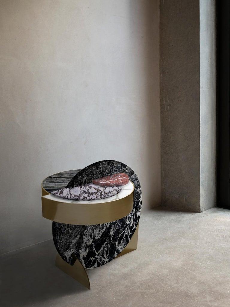 Italian Lunar Full Moon Marble and Brass Side Table, Alpine, Bohinc Studio For Sale