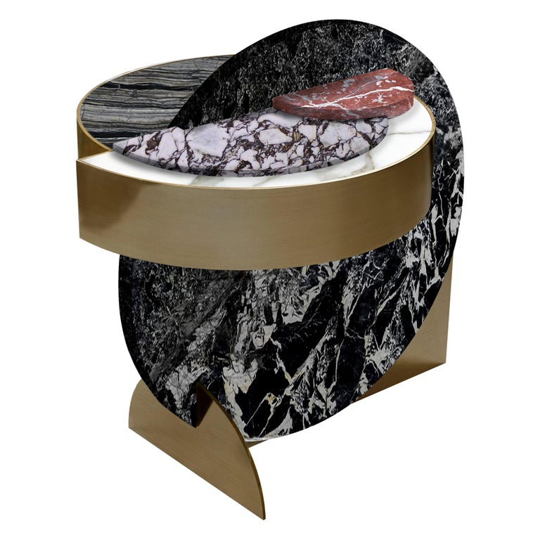 Lunar Full Moon Marble and Brass Side Table, Alpine, Bohinc Studio For Sale