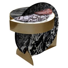 Lunar Full Moon Marble and Brass Side Table, Alpine, Bohinc Studio