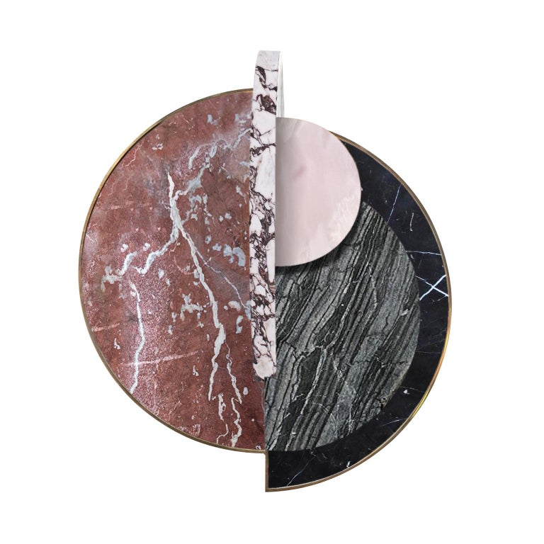 Modern Lunar Full Moon Marble and Brass Side Table, Dune, Bohinc Studio For Sale