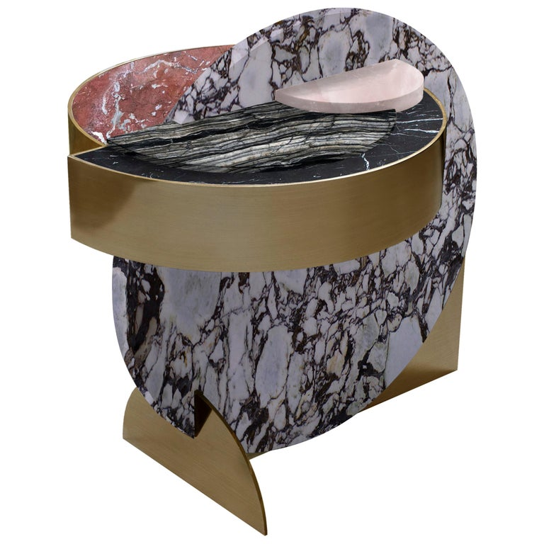 Lunar Full Moon Marble and Brass Side Table, Dune, Bohinc Studio For Sale