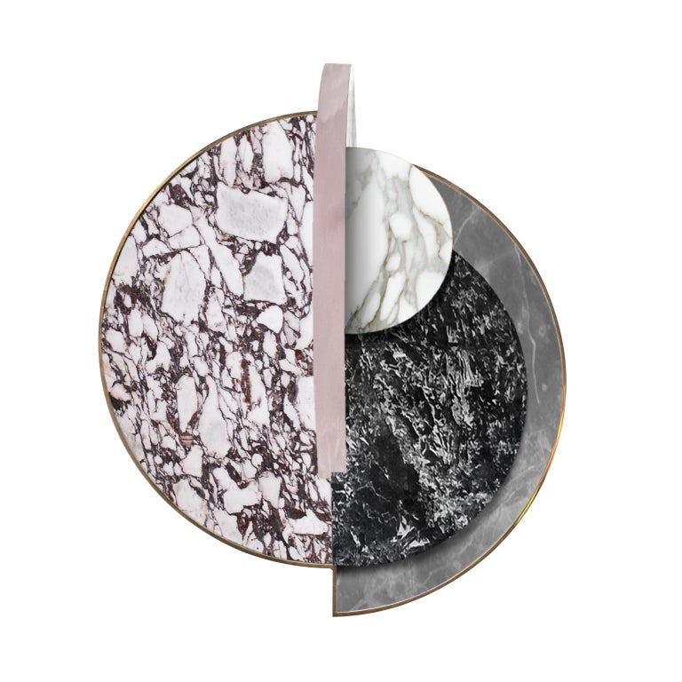 Modern Lunar Full Moon Marble and Brass Side Table, Onyx, Bohinc Studio For Sale