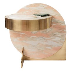 Lunar Full Moon Marble and Brass Side Table, Pink, Bohinc Studio