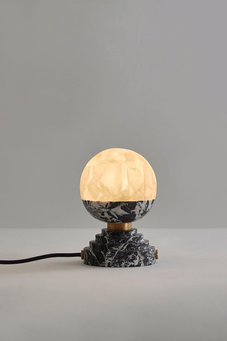 Italian Lunar Table Lamp Grand Antique Brushed Brass For Sale