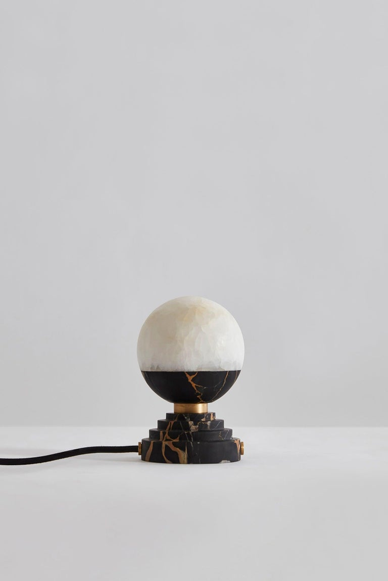 Italian Lunar Table Lamp Portoro Marble and Brushed Brass For Sale