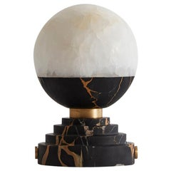 Lunar Table Lamp Portoro Marble and Brushed Brass