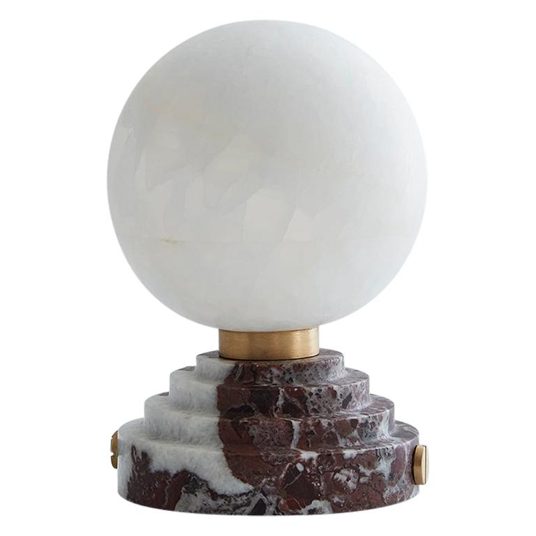 Lunar Table Lamp Rosso Levanto Marble and Brushed Brass For Sale