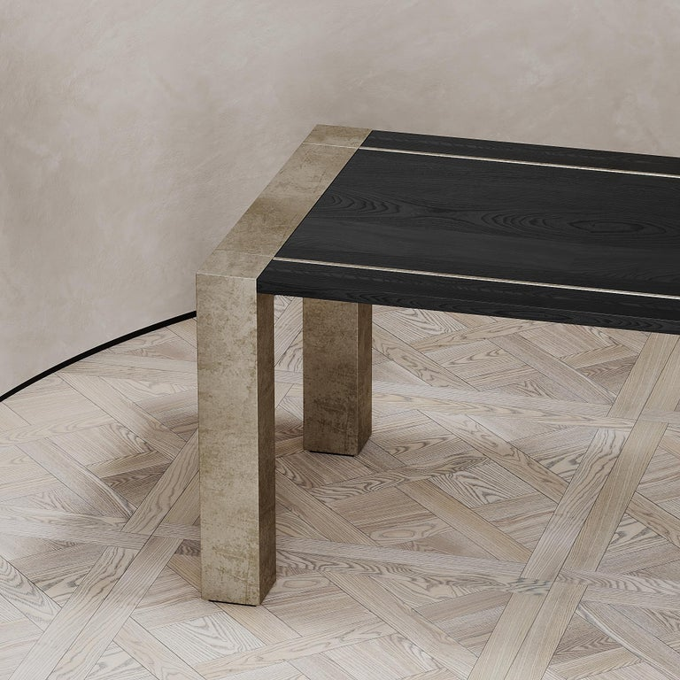 Modern Lunares Rectangular Dining Table of Oak and Pewter, Made in Italy For Sale