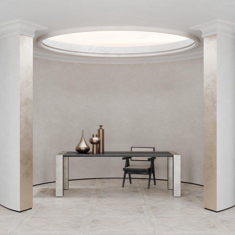 Italian Lunares Rectangular Dining Table of Oak and Pewter, Made in Italy For Sale