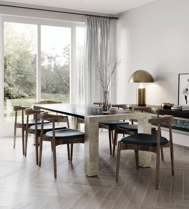 Blackened Lunares Rectangular Dining Table of Oak and Pewter, Made in Italy For Sale