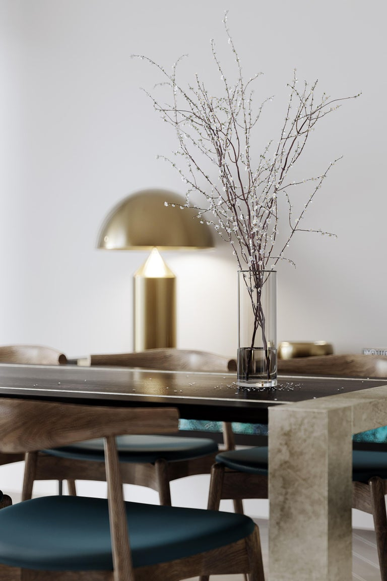 Lunares Rectangular Dining Table of Oak and Pewter, Made in Italy In New Condition For Sale In London, GB
