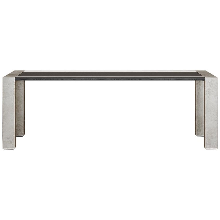Lunares Rectangular Dining Table of Oak and Pewter, Made in Italy For Sale