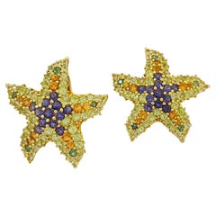 Lunati 18 Karat Yellow Gold Semi Precious 3.21 Carat Starfish Earrings
