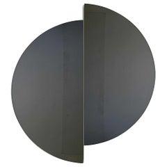 Luna™ 2 Half-Moon Pieces Black Tinted Round Frameless Contemporary Mirror