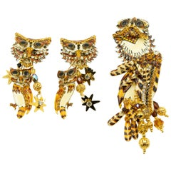 Lunch At The Ritz Enamel Owl Hoot Dangle Clip-on Earrings and Pendant Brooch