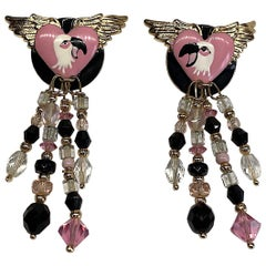 Lunch at The Ritz Pink & Black Enamel Flmingo Fringe Earrings from 1989