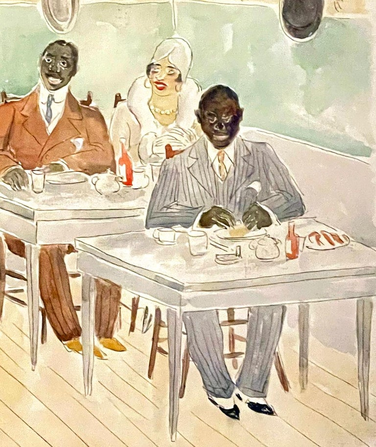 Full of energy and elegance, this genre scene of African Americans eating and chatting in a 1920s lunchroom -- dressed to the nines in furs, fashionable hats and wide-lapeled suits -- was painted by Julius Bloch, a Philadelphia artist who depicted