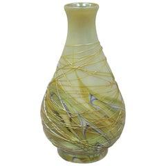 Lundberg Studios 1980 Art Glass Small Cabinet Vase Iridescent Swirl Feather
