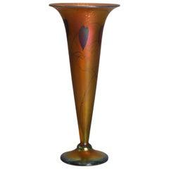 Lundberg Studios Heart & Vine Gold Aurene Art Glass Trumpet Vase, 20th Century