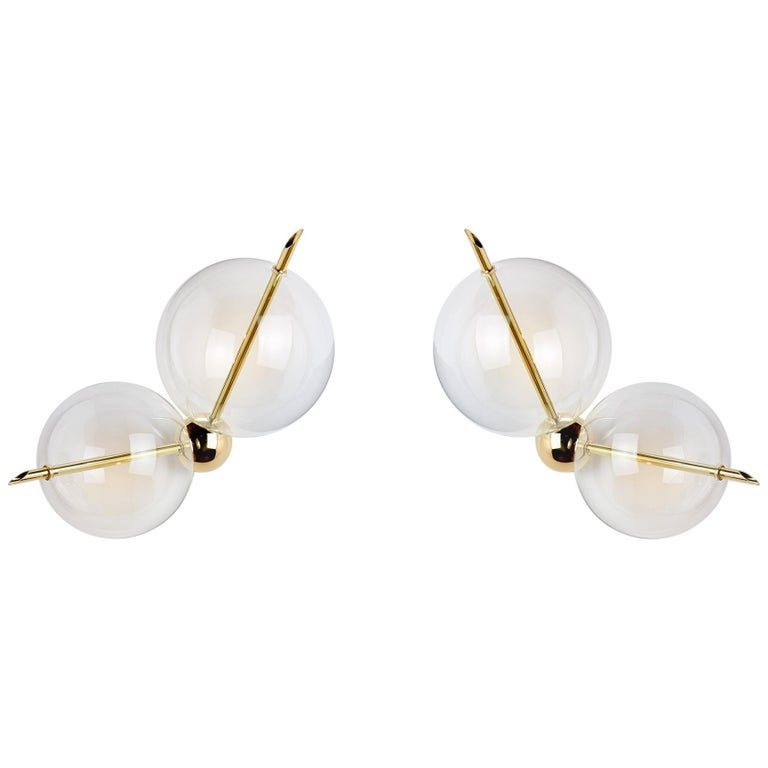 Lune Duo Contemporary Couple of Sconces / Wall Lights Polished Brass Blown Glass For Sale