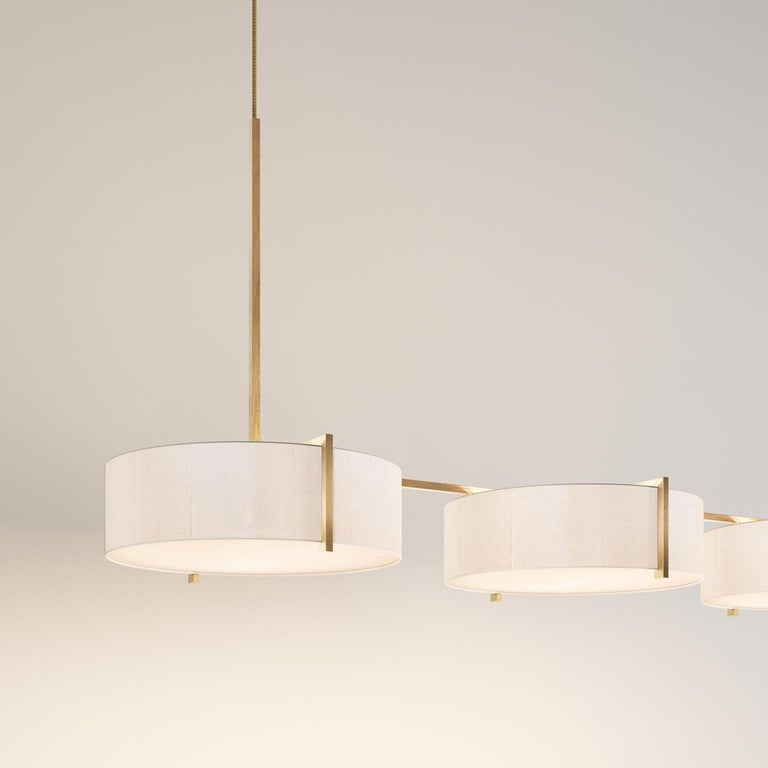 Organic Modern Lune Trio Lantern Pendant, Silk and Brushed Brass Light, Contemporary Chandelier For Sale