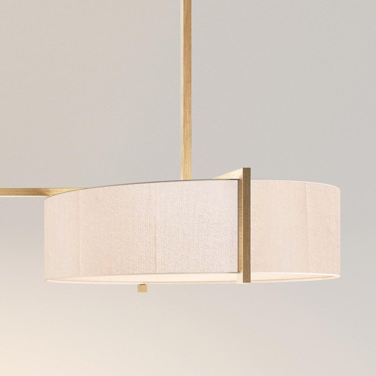British Lune Trio Lantern Pendant, Silk and Brushed Brass Light, Contemporary Chandelier For Sale