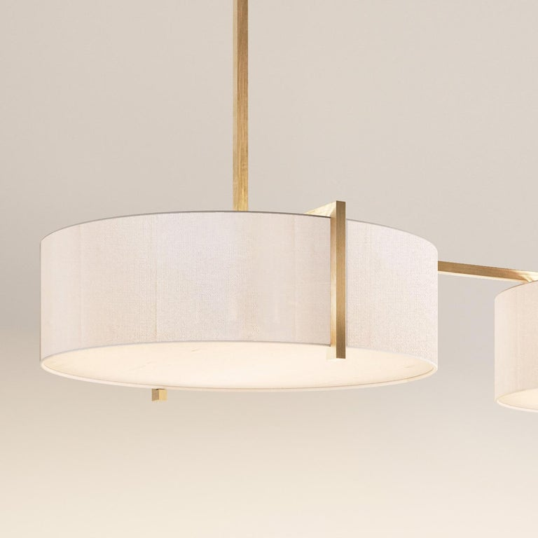 Lune Trio Lantern Pendant, Silk and Brushed Brass Light, Contemporary Chandelier In New Condition For Sale In London, GB