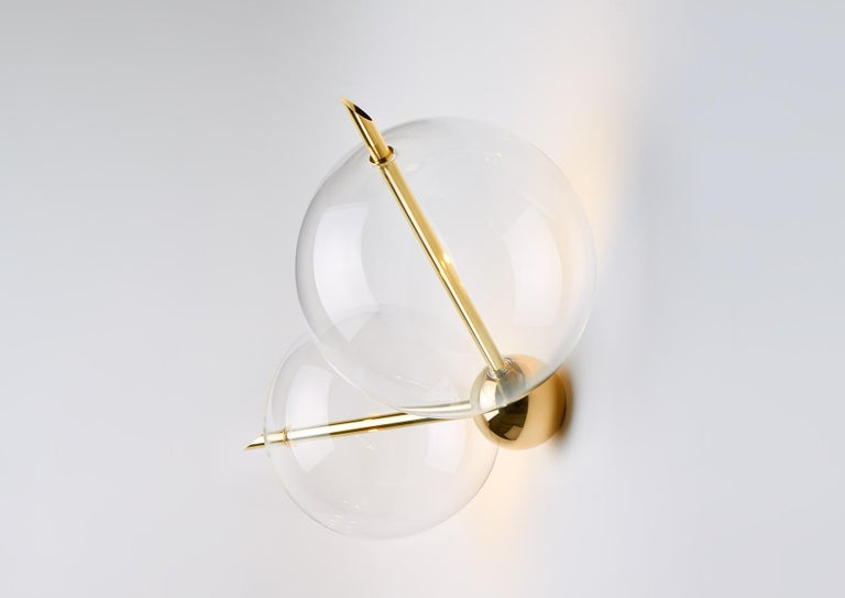 Minimalist Lune Two Lights Contemporary Sconce / Wall Light Polished Brass Handblown Glass For Sale