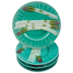 Luneville K&G French Barbotine Majolica Turquoise Fluted Asparagus Plates, S/4