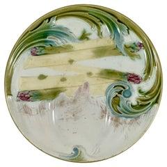 Luneville K&G French Faïence Majolica Art Nouveau Asparagus & Artichoke Plate