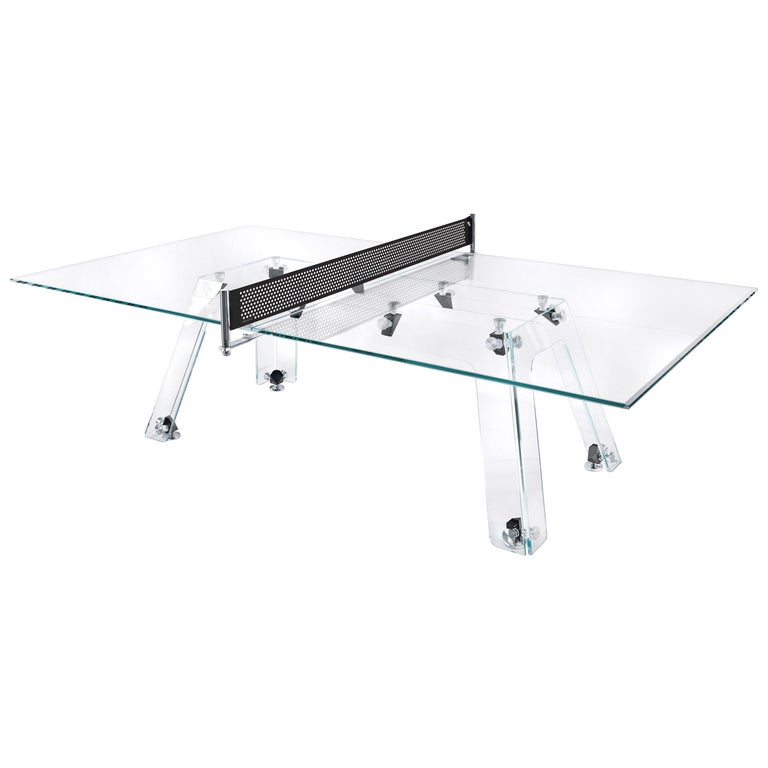 Lungolinea Black Chrome Edition Glass Ping Pong Table by Impatia For Sale