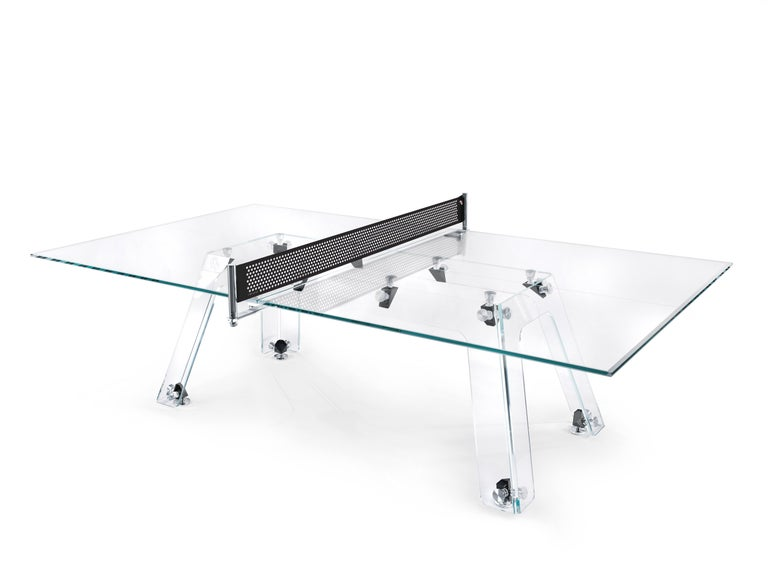 Lungolinea Black Chrome Edition, Ping Pong Table, by Impatia For Sale 4