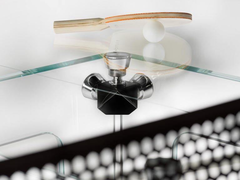 Modern Lungolinea Black Chrome Edition, Ping Pong Table, by Impatia For Sale