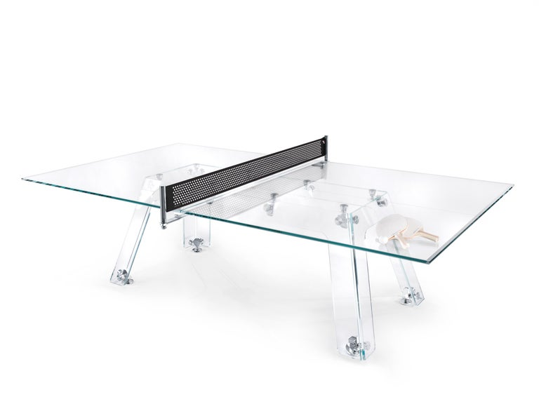 Contemporary Lungolinea Black Chrome Edition, Ping Pong Table, by Impatia For Sale