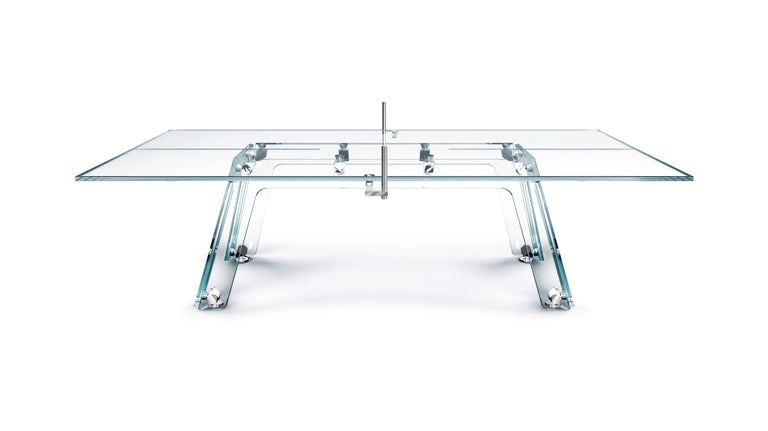 Modern Lungolinea Chrome Edition Glass Ping Pong Table by Impatia For Sale