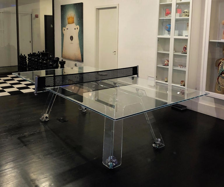 Lungolinea Chrome Edition Glass Ping Pong Table by Impatia In New Condition For Sale In Milan, IT
