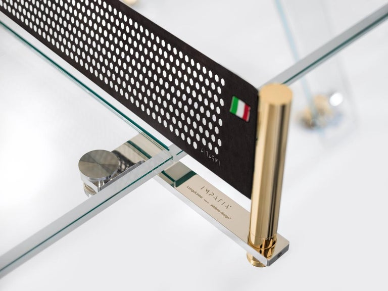 Italian Lungolinea Gold, Contemporary Design Table Tennis/ Ping Pong Table by Impatia For Sale