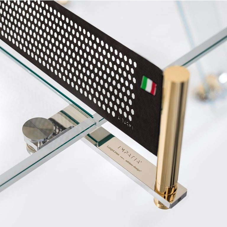 Modern Lungolinea Premium Gold Edition Glass Ping Pong Table by Impatia For Sale