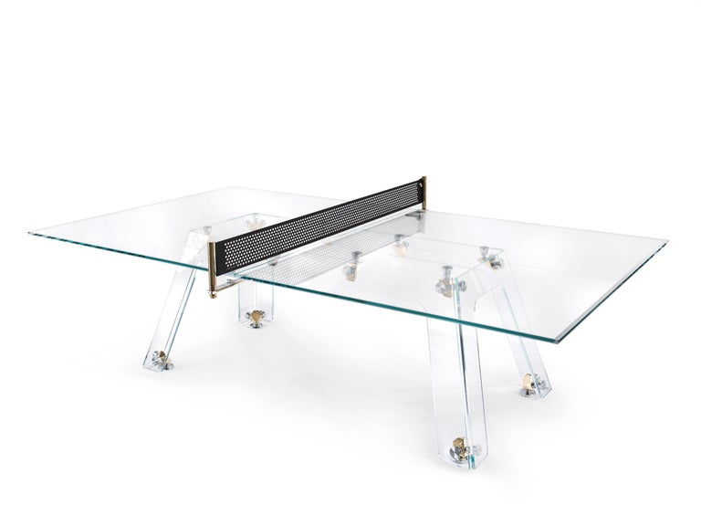 Lungolinea Premium Gold Edition Glass Ping Pong Table by Impatia In New Condition For Sale In Milan, IT
