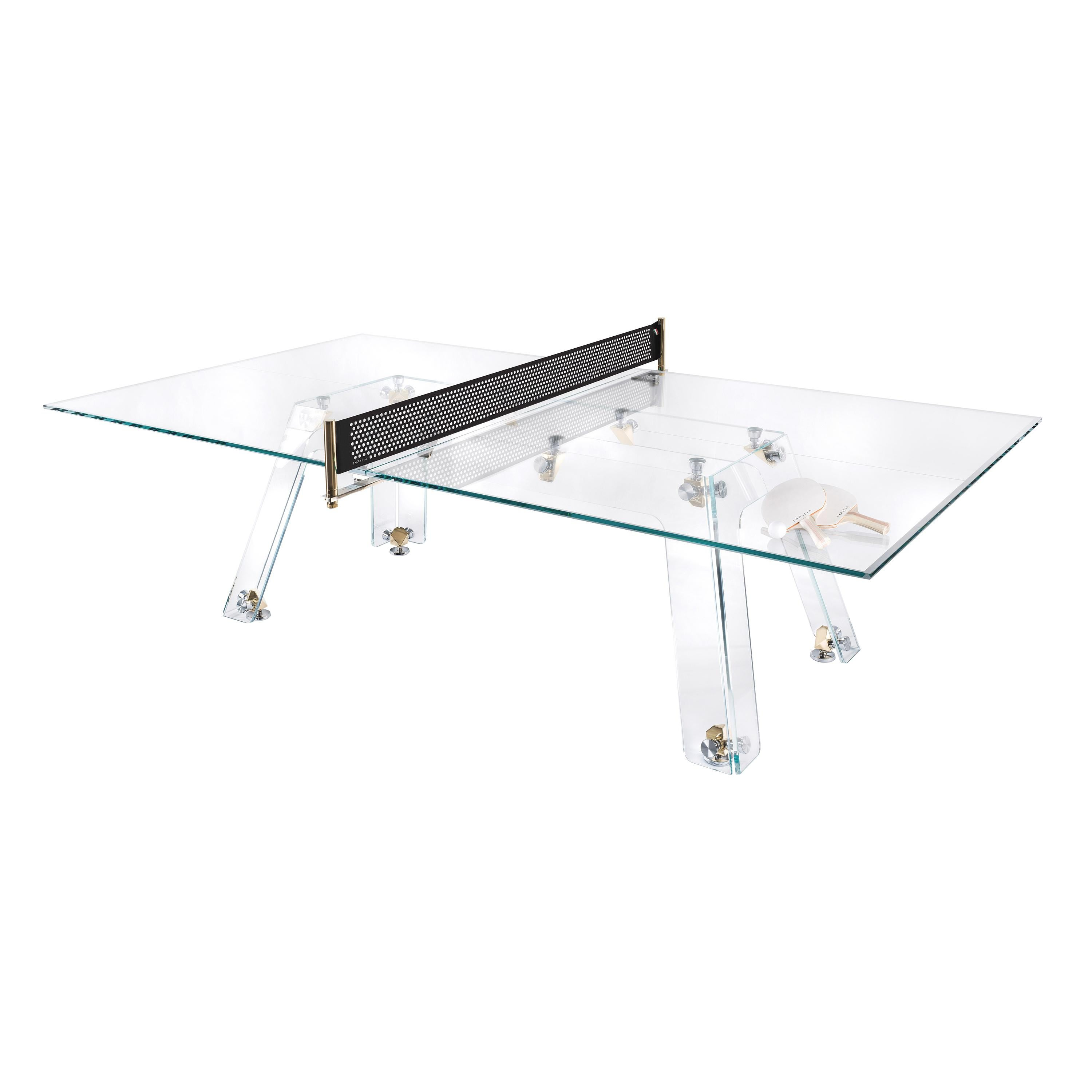Lungolinea Gold Edition Glass Ping Pong Table by Impatia