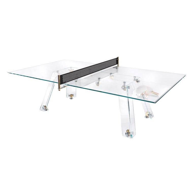 Lungolinea Premium Gold Edition Glass Ping Pong Table by Impatia For Sale