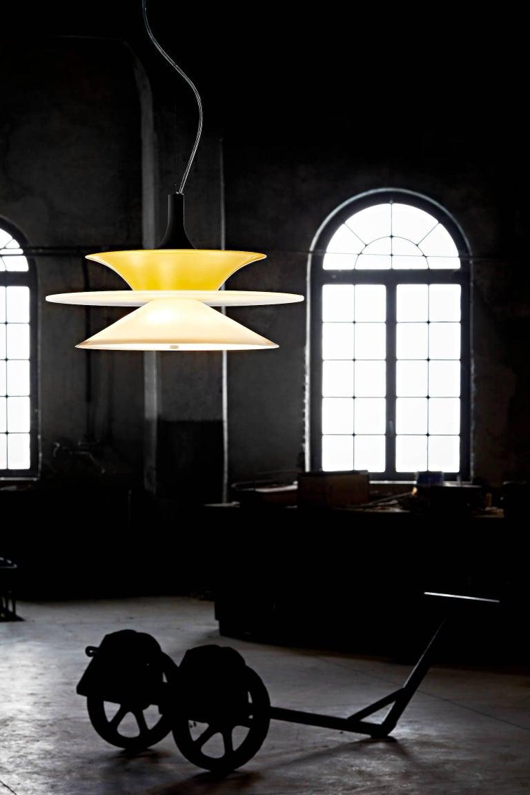 Italian Lungomare B Suspension Lamp in Green by Carlo Moretti For Sale