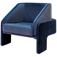 New Structured Armchair L'Unité with Brass Feet