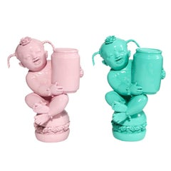 Luo Brothers Chinese Lacquer Sculptures, Pink and Turquoise, Pair