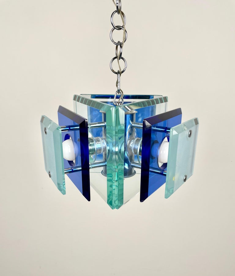 Lupi Cristal Luxor Blue Glass and Chrome Chandelier, Italy, 1970s For Sale 4
