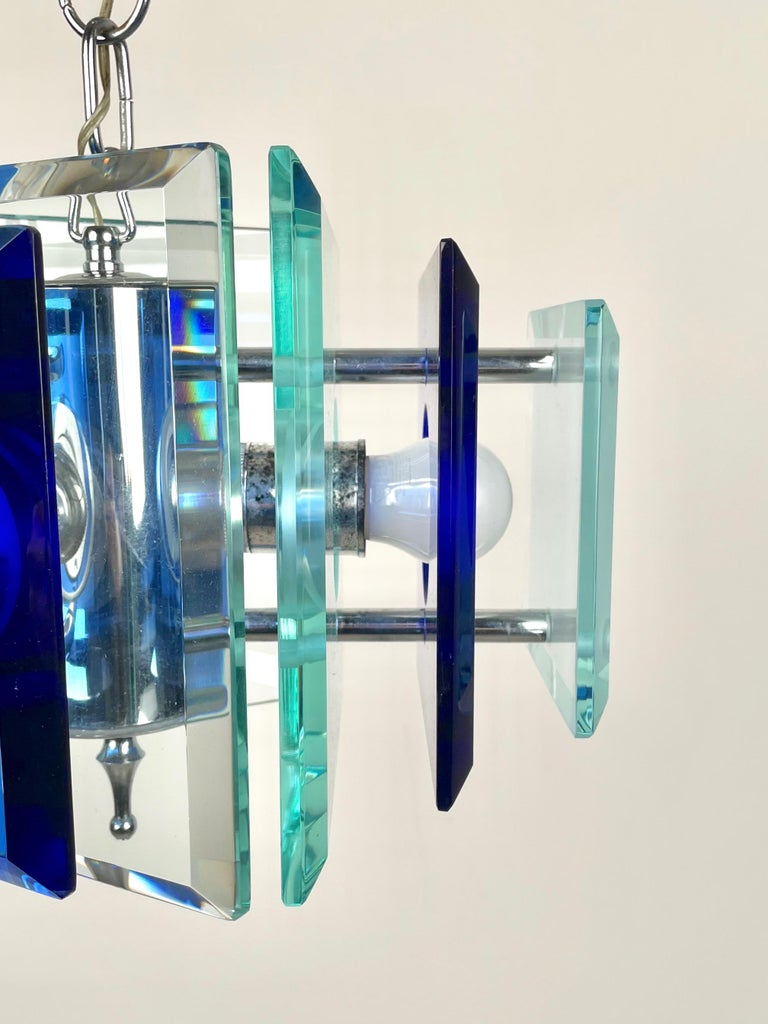 Lupi Cristal Luxor Blue Glass and Chrome Chandelier, Italy, 1970s For Sale 5