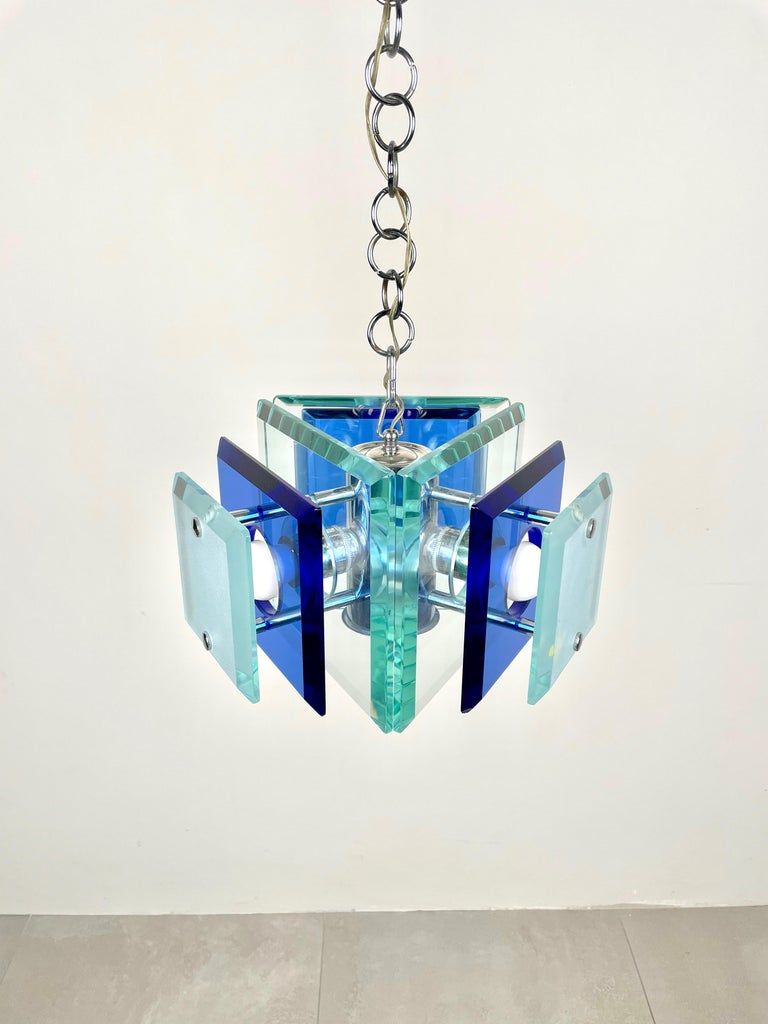 Mid-Century Modern Lupi Cristal Luxor Blue Glass and Chrome Chandelier, Italy, 1970s For Sale
